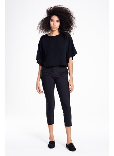 Tiffany&Tomato Dar Paça Cepli Orta Bel Pantolon-Kiremit Siyah